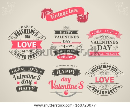 set of calligraphic elements of the holiday Valentine's Day and love wishes