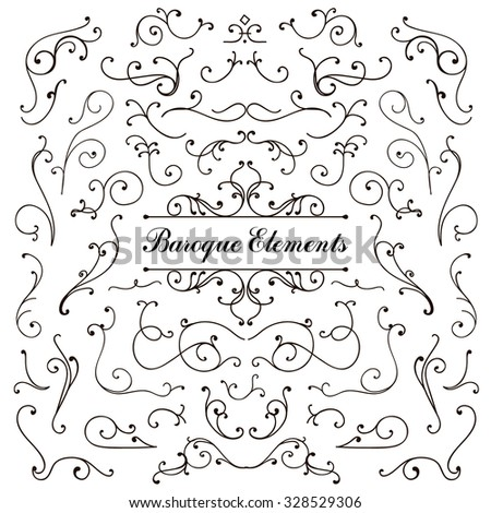 Set of calligraphic floral design elements and page decoration, swirl vintage collection. Vector illustration. Black on white background