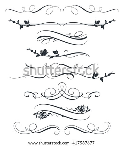 Set of calligraphic floral elements. Decorative roses silhouettes