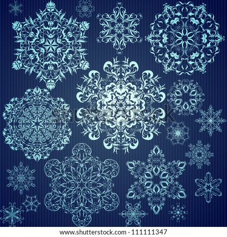 Set of calligraphic snowflakes for Christmas design