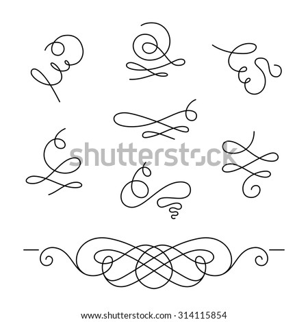 set of calligraphic swirls and