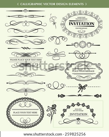 Set of calligraphic vector design elements