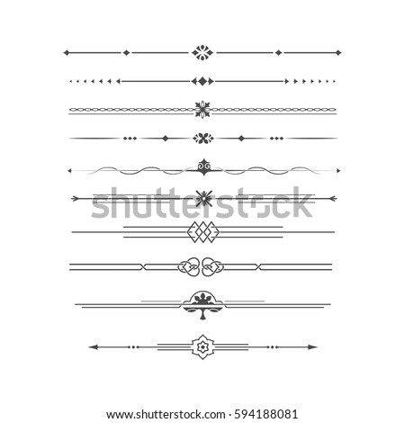 set of calligraphical elements