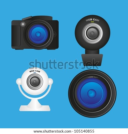 Set of cameras and lenses, camera professional web cameras and lens, vector illustration