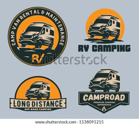 Set of camper van logo, emblems and badges. Recreational vehicle illustration.