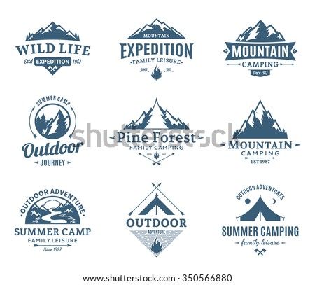 Set of camping and outdoor activity logos. Tourism, hiking and camping labels. Camping and travel icons for tourism organizations, outdoor events and camping leisure.