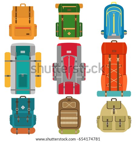 Set of camping backpacks. Tourist Hiking backpacks with sleeping bags. Flat design vector illustration