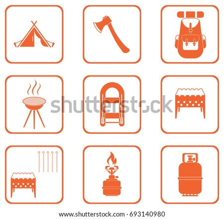 Set Of Camping Equipment Icons Vector Illustration