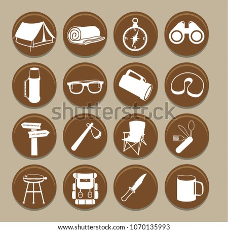 Set of camping icons.Vector illustration.