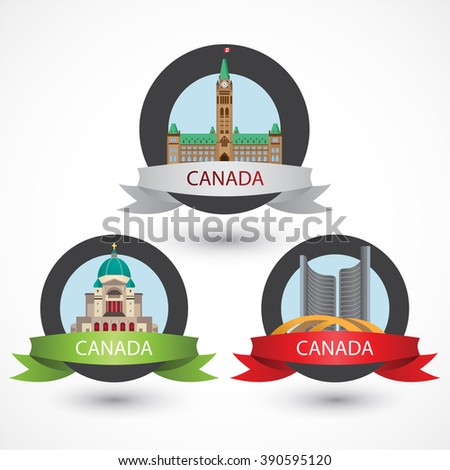 Set of Canada famous monuments. City Hall, Toronto, Saint Joseph's Oratory of Mount Royal and Peace Tower in Ottawa . Flat Vector illustration can be used in web design and travel concepts. Volume 1.