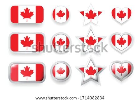 Set of Canada vector labels square button, circle button, star and heart buttons in flag colors red, white for flyer, poster or any holiday design Foto stock ©