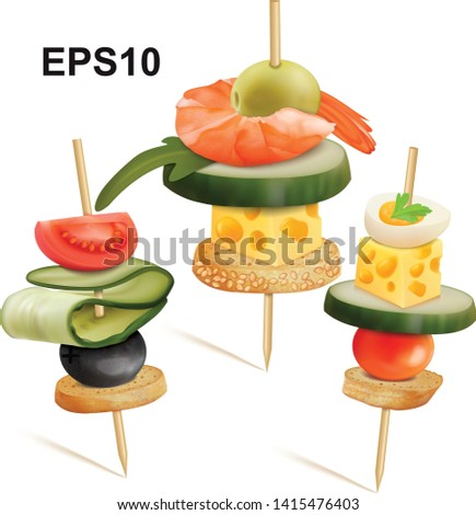 set of canape cheese  tomatoes