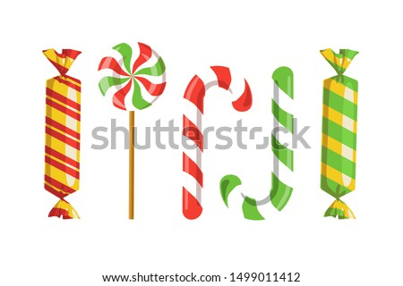 Set of candies, sweets and striped lollipops icons isolated on white background. Vector 10 EPS illustration. Holiday, treat or childy concept.