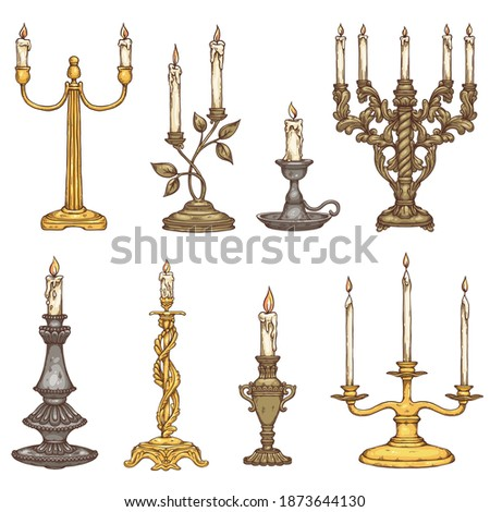 Set of candles in vintage old metal candlesticks. Antique candle holders and retro candelabrums with flame of candlelight. Vector sketch isolated illustrations. Stockfoto ©