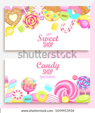 Set of candy and sweet shop banners with many sweets and place for text. Candy,macaroon,bonbon,lollypops,marshmallow,jellybean,candy cane, biscuit. Template for posters, menu,flyers. Vector.