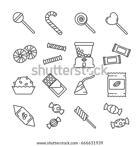 Set of candy Related Vector Line Icons. Contains such icon as chocolate, sweets, chewing gum