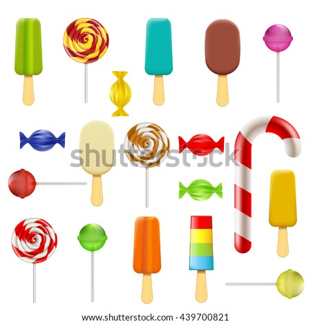 Set of candy, sweets and ice cream. Isolated on white background. Stock vector illustration.