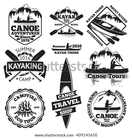 set of canoe and kayak labels....