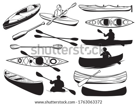 Set of canoe silhouettes. Collection of people floating in a kayak. Black and white illustration of a kayak. Rowing boat vector drawing for logo. Stok fotoğraf ©