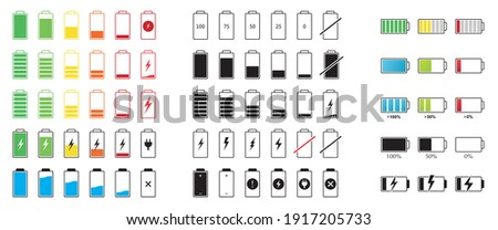 Set of capacity battery icons. Mobile phone charge level illustration sign collection in flat style. Vector Сток-фото ©