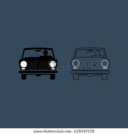 Set of Car and Driver in Two Versions. Vector, Illustration
