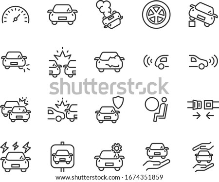 set of car icons  accident