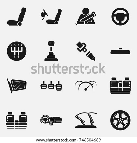 Set of car interior details vector icon isolated on white background. Includes seats, back seats, dashboard, transmission and safety belt.