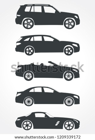 set of car models. Top to bottom (GLK 300 crossover,Mercedes-Benz C-class Estate station wagon, Mercedes-Benz SLC-Class convertible,Mercedes w205 sedan,Mercedes SLS AMG sport coupe).