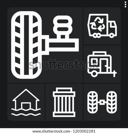 set of 6 car outline icons such