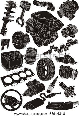 set of car part silhouettes