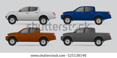 set of car pickup isolated