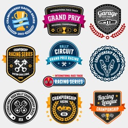 Set of car racing emblems and championship race vector badges