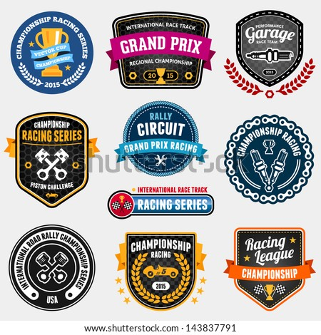 set of car racing emblems and