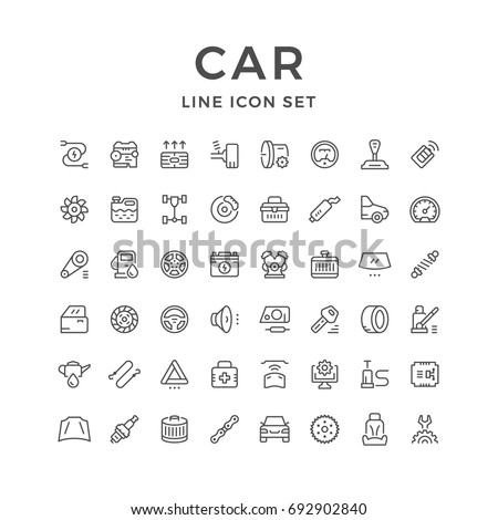 Set of car related line icons isolated on white. Contains such icons as spare parts, engine, auto service, brake, spark plug, shock absorber, clutch, speedometer, wheel and more. Vector illustration