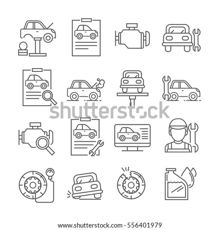 Set of car repair and car service station Related Vector Line Icons. Includes such Icons as auto repair, tyre replacement,  mechanic,  engine, tire repair, oil change,  technical inspection