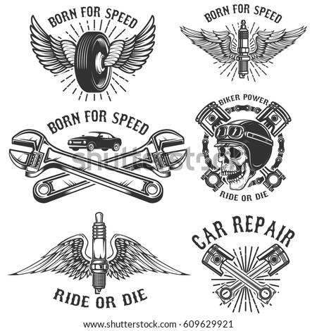 set of car repair and racing...