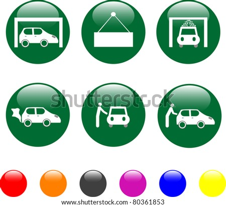 set of car service green icon shiny button. vector - stock vector