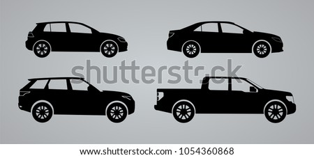 Set of car silhouettes, black and white car silhouettes, logo isolated on grey background, vector illustration car logotype. Set silhouettes sedan, suv, pick up body, delivery, repair, service  EPS 10