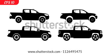 Set of car silhouettes, black pick up car silhouettes, logo pickup isolated on white background, vector illustration car logotype. Set car silhouettes pickup, delivery repair EPS 10 monochrome icons