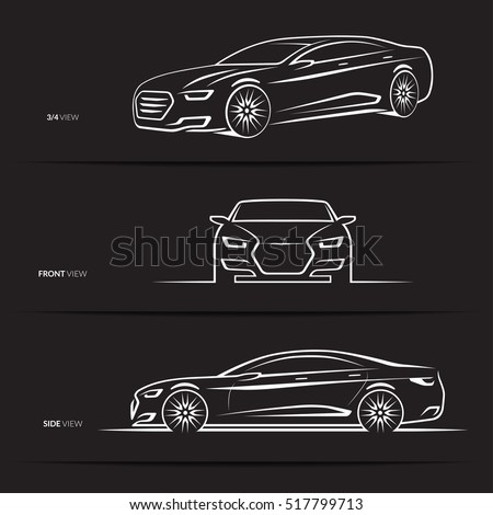 Set Of Car Silhouettes Outlines Contours Front 3 4 And Side View