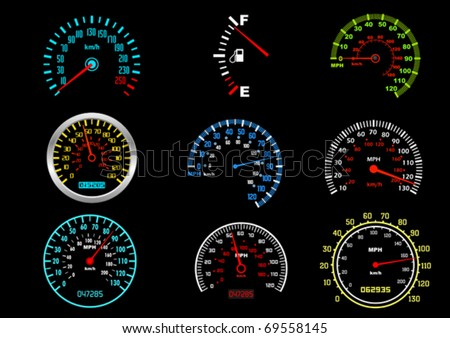 Set of car speedometers for racing design. Jpeg version also available in gallery