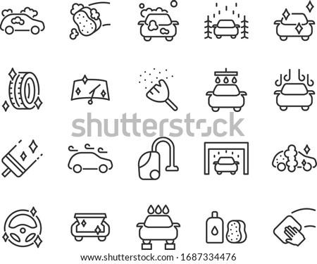 set of car washing icons, washing service