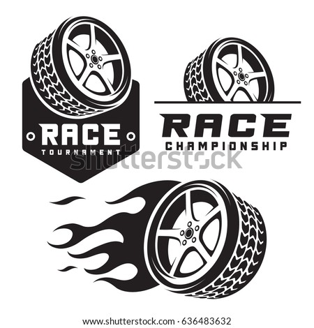 set of car wheel fire racing emblems logo  template isolated on white background  .