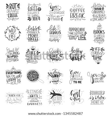 Set of 25 Card Posters Typography designs. Hand drawn lettering phrases. Modern motivating calligraphy decor. Scrapbooking or journaling cards with quotes.