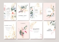 Set of card with exotic green, gold leaves and flowers. Tropical Wedding concept. Floral poster, invite with flamingo. Vector decorative greeting card or invitation design background