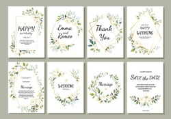 Set of card with flower rose, leaves and geometrical frame. Wedding ornament concept. Floral poster, invite. Vector decorative greeting card,invitation design background