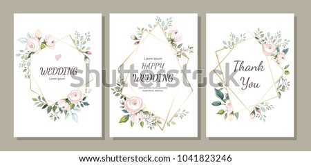 Set of card with flower rose, leaves and geometrical frame. Wedding ornament concept. Floral poster, invite. Vector decorative greeting card, invitation design background #1041823246