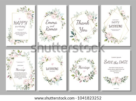 Set of card with flower rose, leaves and geometrical frame. Wedding ornament concept. Floral poster, invite. Vector decorative greeting card, invitation design background