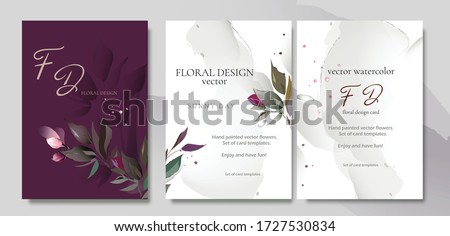 Set of card with flower rose, leaves. Wedding concept. Floral poster, invite. Vector watercolor decorative greeting card or invitation design background