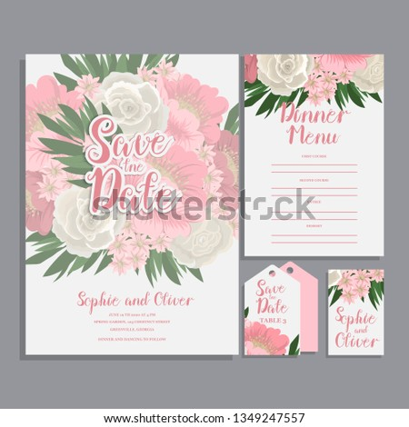 Set of card with flower rose, leaves. Wedding ornament concept. #1349247557